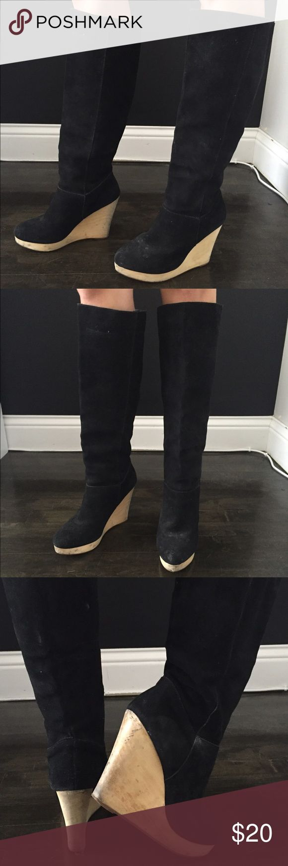 Suede wedge boots Black suede boots with wooden wedge.  Really comfortable.  Wear on wooden wedge. Cooperative Shoes Heeled Boots