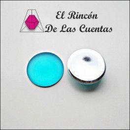 Cabuchón redondo Luna Soft Touch color blue zircon de 24mm