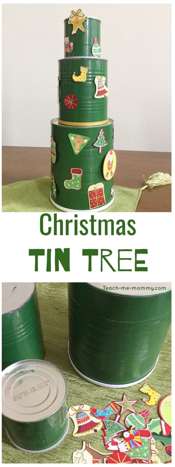Christmas Tin tree, stackable and travel-friendly too!