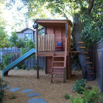 Play Structure  - mulched ground & integrated into tree