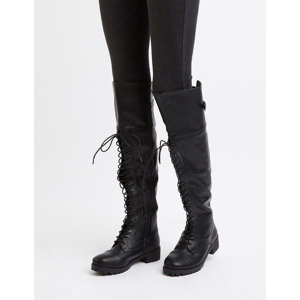 Dollhouse Over-The-Knee Combat Boots ($49) ❤ liked on Polyvore featuring shoes, boots, black, combat booties, combat boots, thigh high combat boots, thigh high boots and army boots