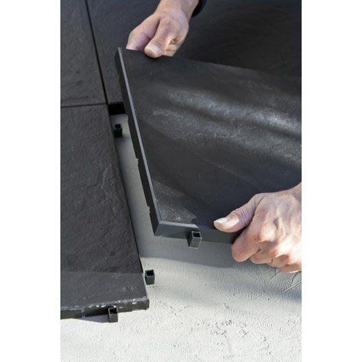 Dalle clipsable Easy en polypropylène aspect ardoise, L 30 x l 30 cm x Ep 25 mm
