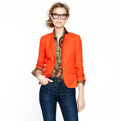 bright orange blazer in wool flannel fall jcrew