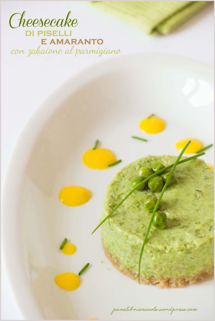 Cheesecake di piselli e amaranto con zabaione al parmigiano