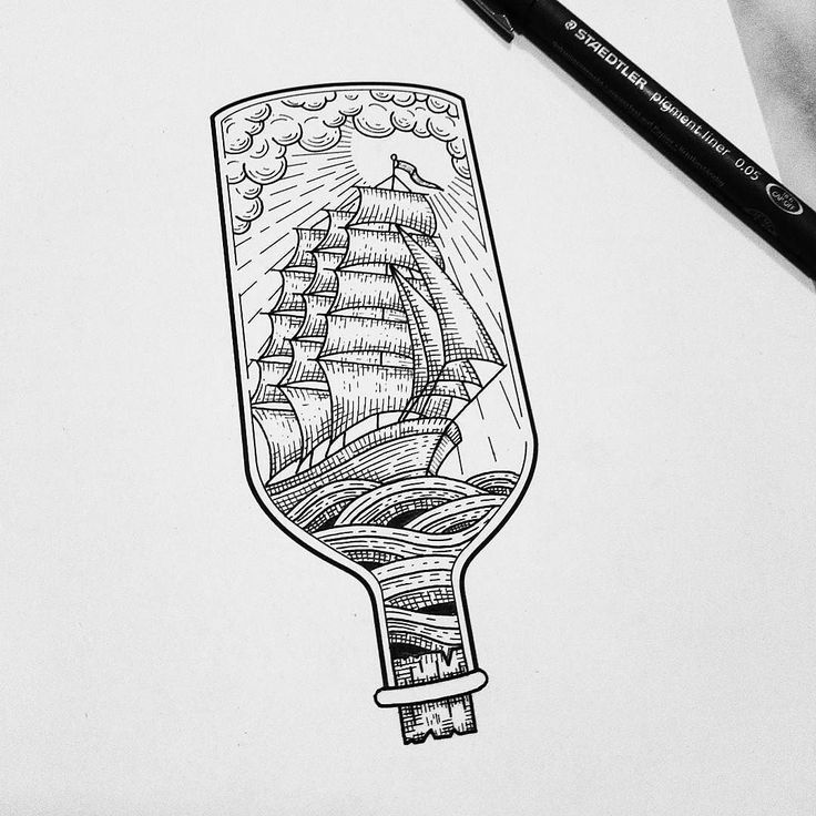 Here's a great #nautical #drawing from tattoo artist @vliegwerkpremium of a ship sailing on the open seas... or at least it could be in if it wasn't trapped inside a bottle. While I'm not sure if this is supposed to be a play on the idea of a model ship constructed in a bottle or some twist on the idea of a message in a bottle where the sea is on the inside of the vessel instead of the outside or some commentary on how much sailors and pirates like rum (where they are literally IN the…
