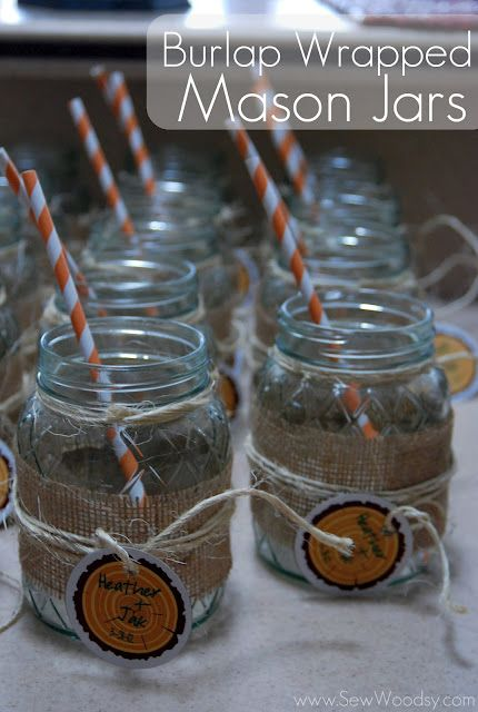Cool idea for drinking glasses for a shower in keeping with the wedding's rustic theme.