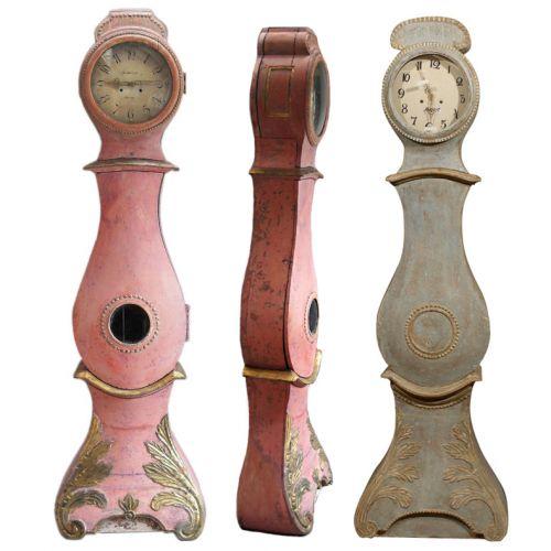 Pink Painted Mora Clocks, Keywords:Gustavian, Gustavian Furniture, Distressed Furniture, Country French Furniture, Shabby Chic Furniture, Scandinavian Design, Nordic Style, Swedish Furniture, Swedish Decorating, Mora Clocks