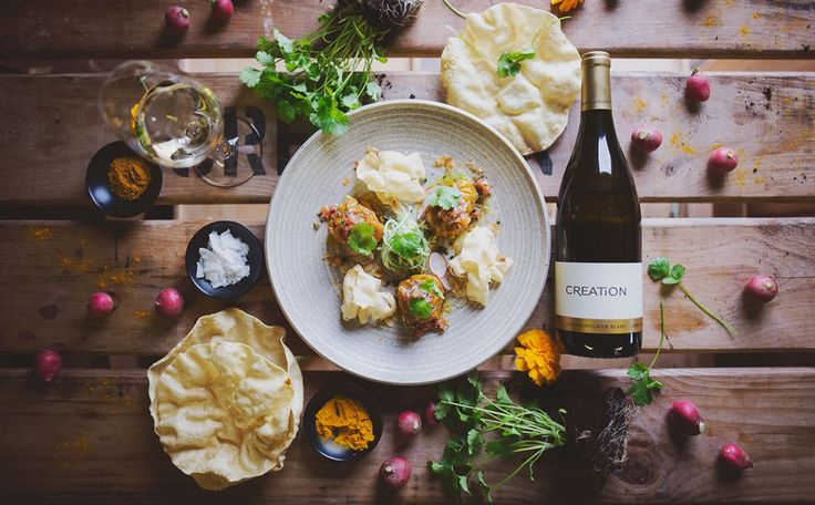 Deconstructed Cape Malay pickled fish with cilantro & poppadums served with sauv B sEMILLION