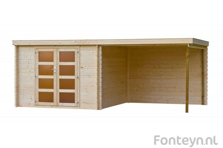 Tuinhuisjes / Blokhutten Fonteyn Vera Platdak Onbehandeld 560 x 300 cm - Tuinhuizen