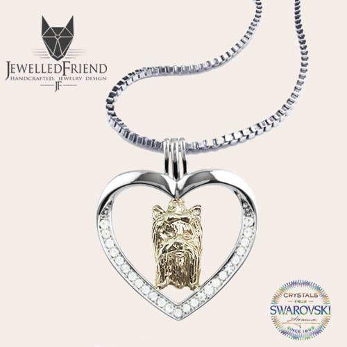 Check out Yorkie jewelry necklace pendant with swarovski crystal on jewelledfriend