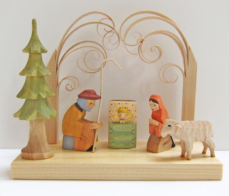 Hand carved wooden helbig workshop creche nativity set