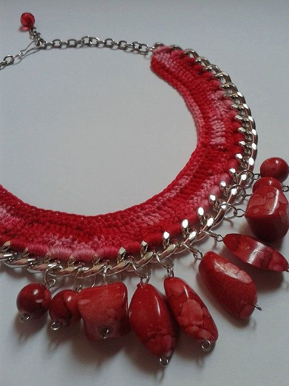 Statement  Crochet beaded Necklace, Red Ombre Necklace with chunky chain, Bib Necklace/ Valentine's Necklace, Handmade Necklace,