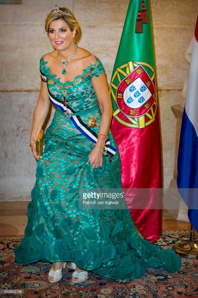 Queen Maxima of The Netherlands during the official state banquet hosted by President Marcelo Rebelo de Sousa of Portugal at the Palacio da Ajuda on October 10, 2017 in Lisboa CDP, Portugal. (Photo by Patrick van Katwijk/Getty Images)