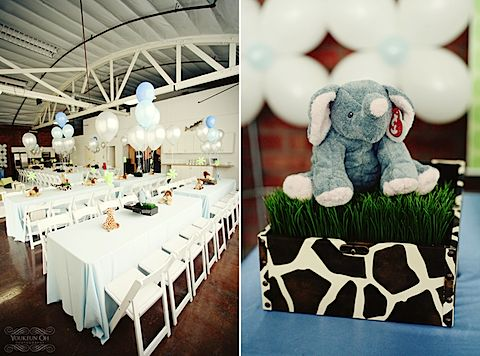 The perfect centerpiece!  The little stuffed animals on wheat grass are AWESOME!