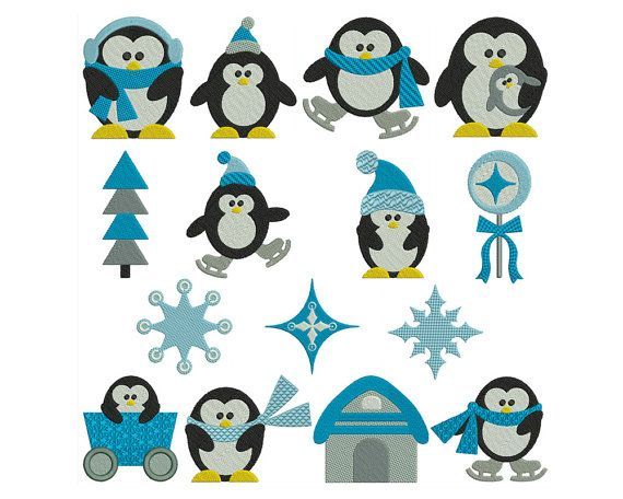 PENGUINS  Machine Embroidery  Instant Digital by embroiderquilt