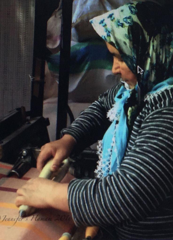 Aunt Ayşe is one of the last woman artisans in Turkey still working a shuttle loom, seen here weaving our limited edition Seven Wonders towels. #Turkey #handloom #weaving #women #towels #SevenWonders  #artisanal #jennifershamam