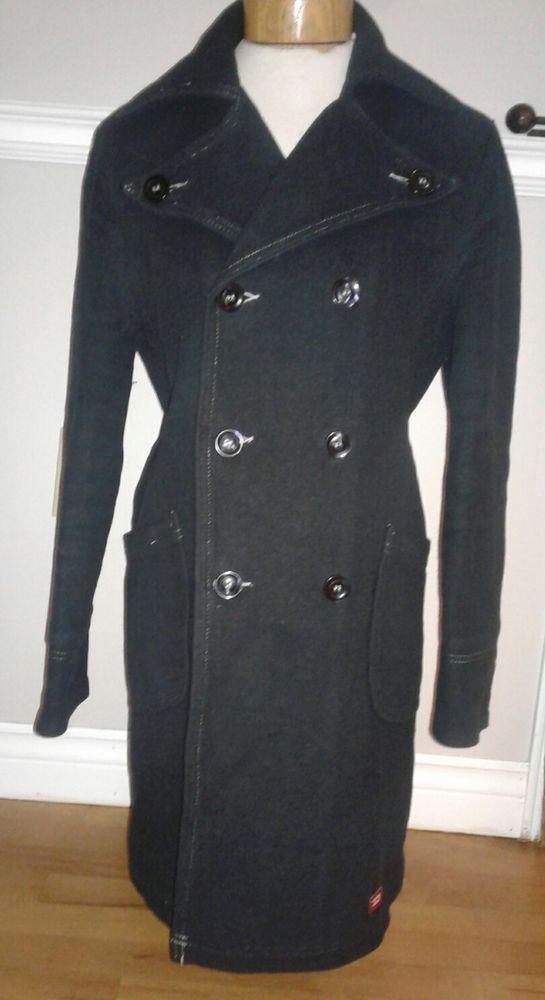 DIESEL Womens Black Winter Pea Coat Parka Jacket Large  DIESEL  Military 0b61c788e6