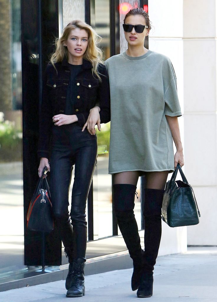 Irina Shayk Proves She Has Too Cool Maternity Style in Baggy Yeezy Tee and Thigh-High Boots from InStyle.com