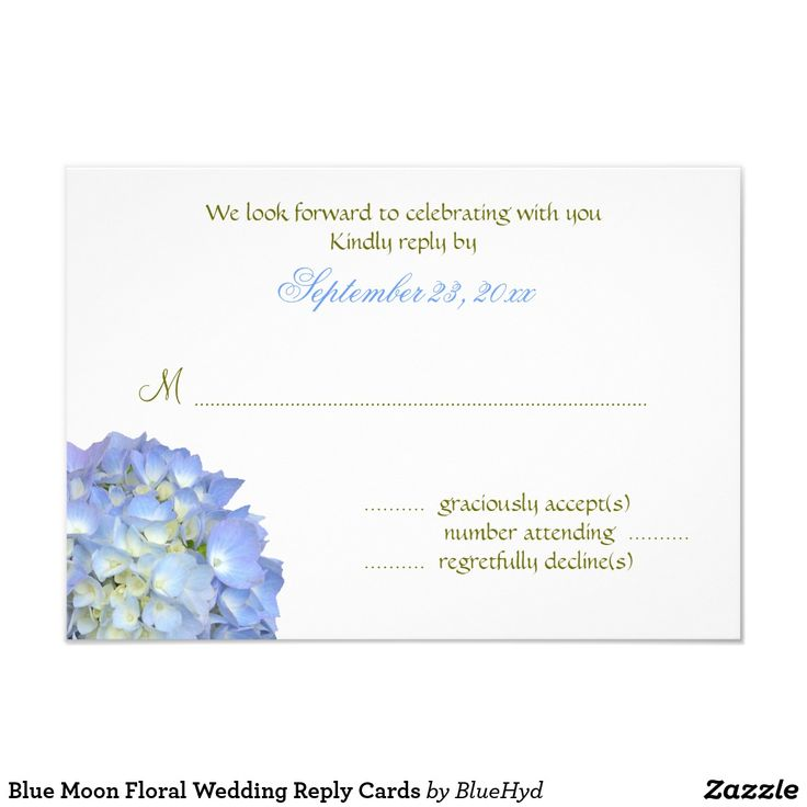Blue Moon Floral Wedding Reply Cards