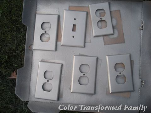 Spray paint plastic cover plates for an inexpensive makeover.  Way cheaper than replacing them all!