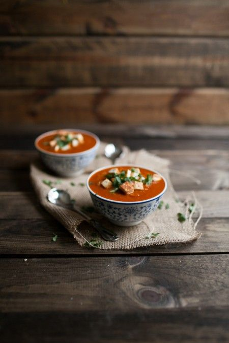 Naturally Ella | Curried Tomato and Brown Rice Soup with Fried Paneer ...