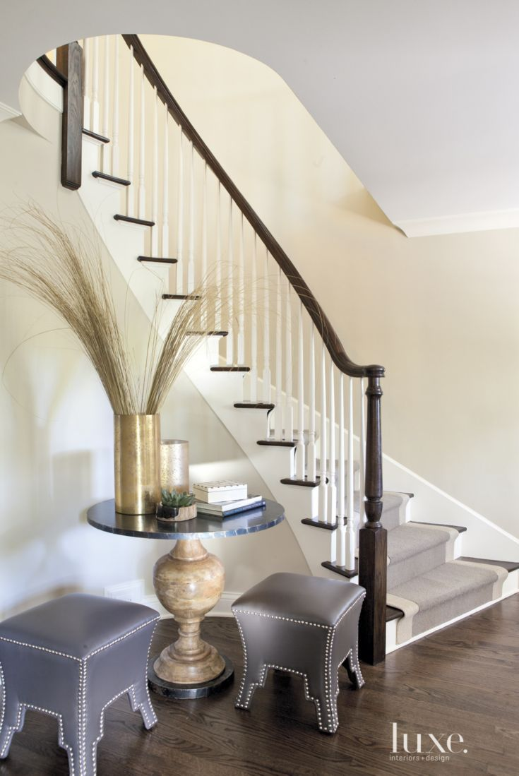 Transitional Cream Foyer with Jute-and-Wool Runner