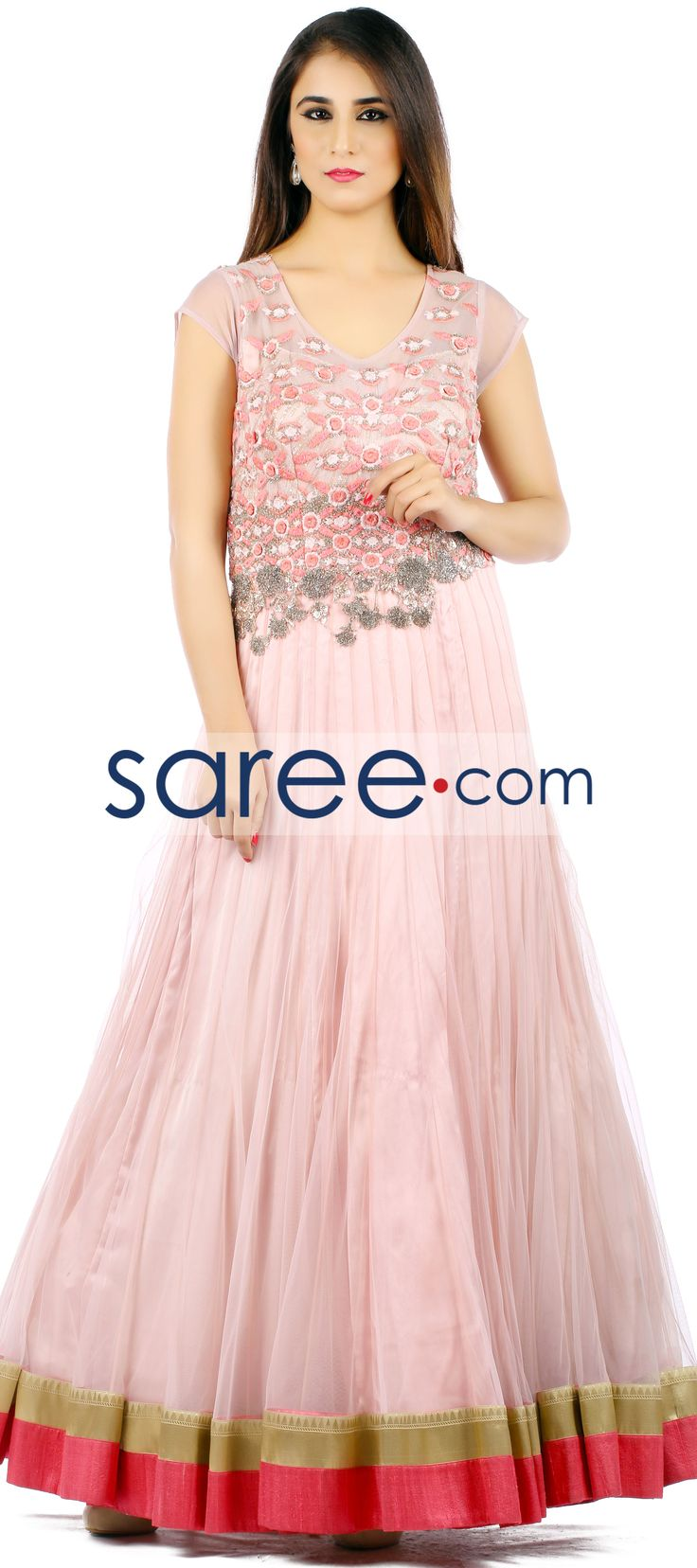 PINK NET GOWN WITH EMBROIDERY WORK   #Gown #PartywearGown #ReceptionGown #IndoWestern #IndoWesternGown