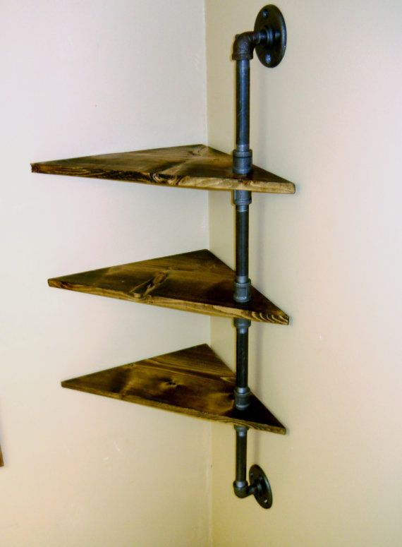 Corner Pipe Shelf  Industrial Shelves  Three by VulpineYooper