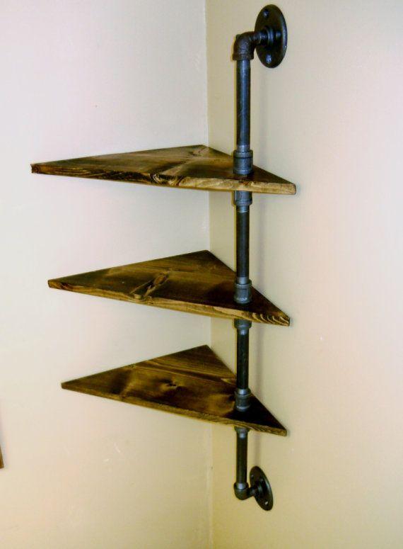 Corner pipe shelf industrial shelves three by