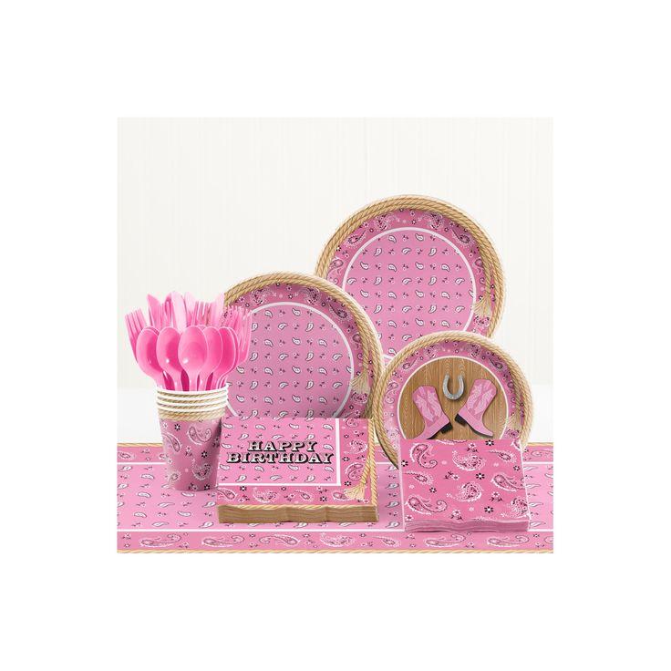 Pink Bandana Cowgirl Birthday Party Supplies Kit