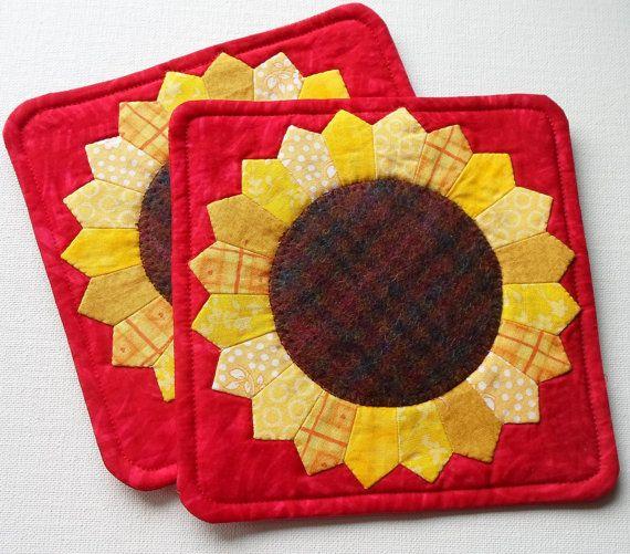 Handmade Cotton & Wool Sunflower Mug Mats by QuiltShenanigans