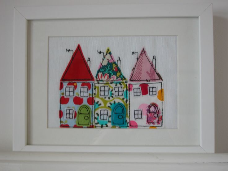 A free motion embroidered picture called 'Trio of Houses'.