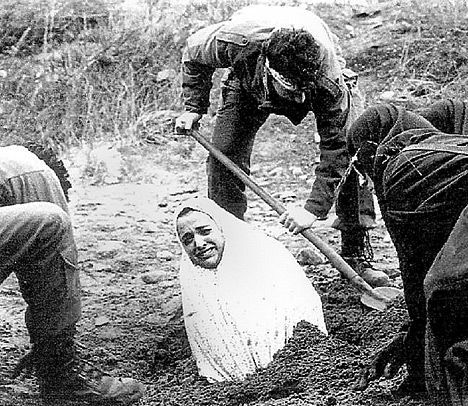 "Every year, thousands of women are put to death by stoning in the Muslim world. The photo below shows the scene of stoning of Soraya Manutchehri in 1986, for being an ""inconvenient wife."" The stoning of Soraya Manutchehri was made into an award-winning movie.:"