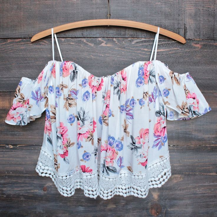 boho chic off the shoulder crop top with lace trim (more colors)