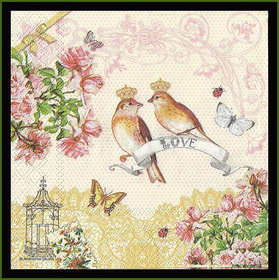 4 Napkins Love Birds Decoupage Paper Scrapbooking Paper Fancy Napkins Design Napkins Mixed Media