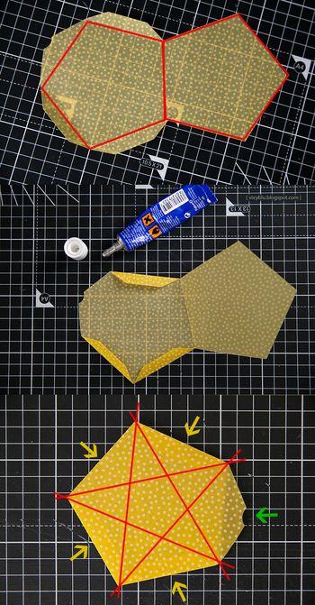 作り方はこちら。 二つの五角形を組み合わせ、星形に折り目を付けて矢印の方向に凹ませたら完成です。 強度のある紙で作るのがおすすめ☆ コンペイトウを入れたくなりますね。