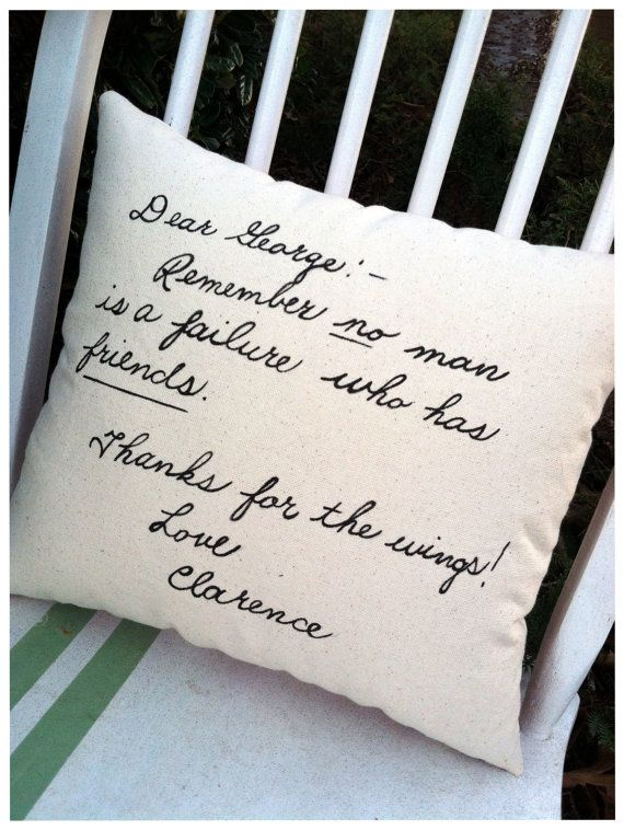 It's a Wonderful Life, Clarence's note- Double Sided Holiday Quote Pillow by ThreeYellowFinches on Etsy