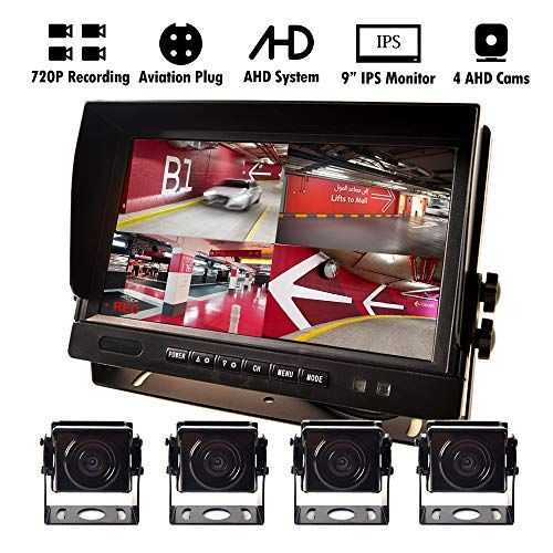 9 Ahd Truck Parking Backup System Built In Dvr Surveillance Ips Screen 4 Cameras 4 Channel Separate 720p Hd Recording For Truck Bus Trailer Motorhome 12v 24v No Light Night Vision 4 Pin Shockproof Cool