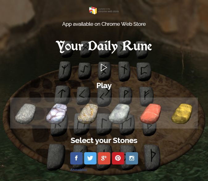 UPDATE: optimized stone physics, more social links. optimized UI for smaller devices.  #runes #runen #divination #dailyrune #orakel #oracle