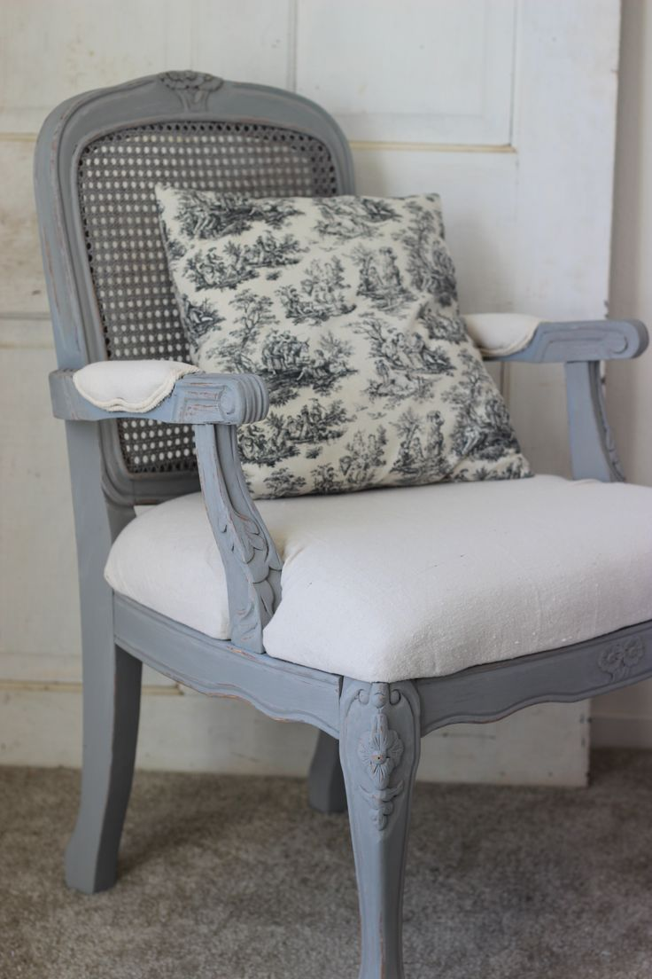 French Country cane back vintage chair with drop cloth seat
