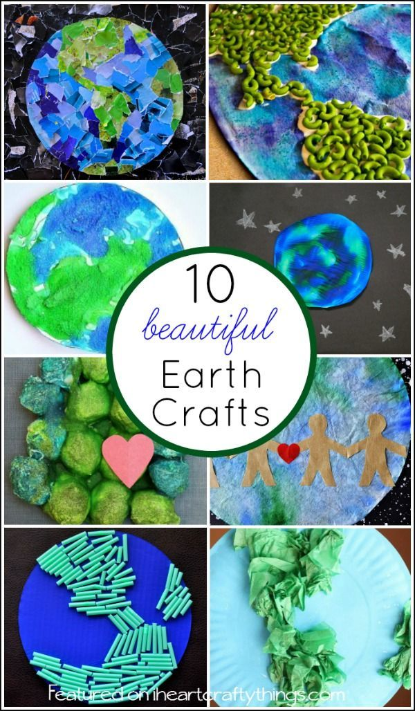 10 Beautiful Earth Day Crafts that kids will love making using different craft materials like magazine scraps, cereal boxes, tissue paper, cotton balls, noodles and more.