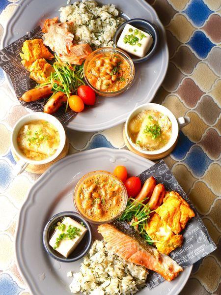 休日の和朝食!IKEAと100均皿でおうちカフェ♡