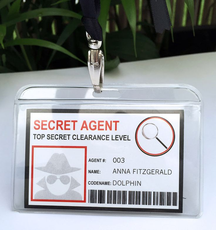 Secret Agent Badge Template | At the completion of spy training, issue your Secret Agents with a Badge. Type in each agents ID#, name and codename! | Spy Birthday Party Theme | INSTANT DOWNLOAD via www.SIMONEmadeit.com