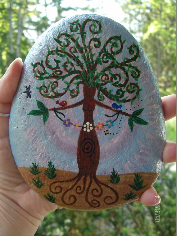 Gaia/Mother Earth Goddess Altar Stone by RocknGoddess on Etsy