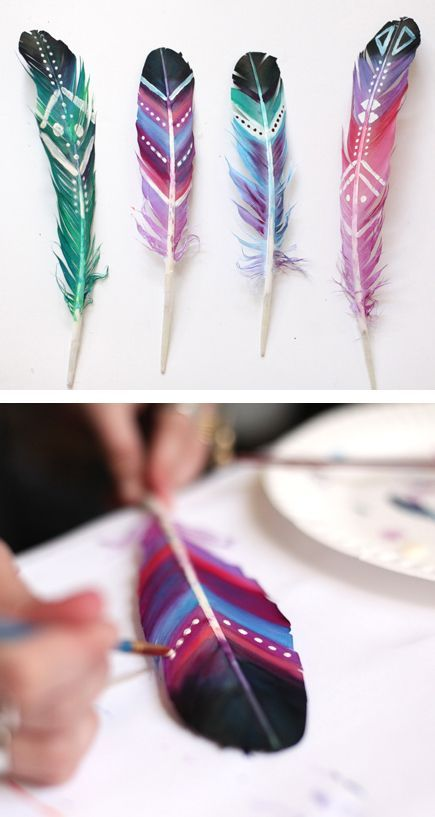 After you paint them tie string on the bottom of the feather and hang them up with a stick from outside.