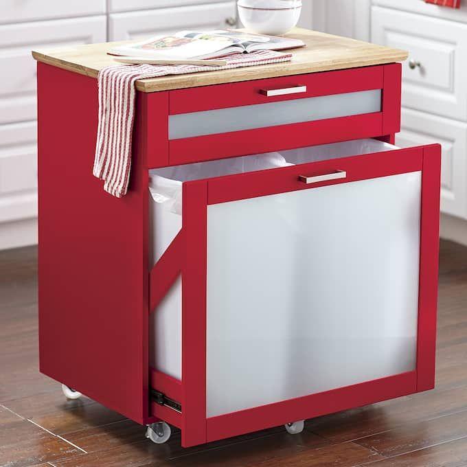 Mobile Trash Cabinet Trash Can Cabinet Kitchen Trash Cans Recycle Trash