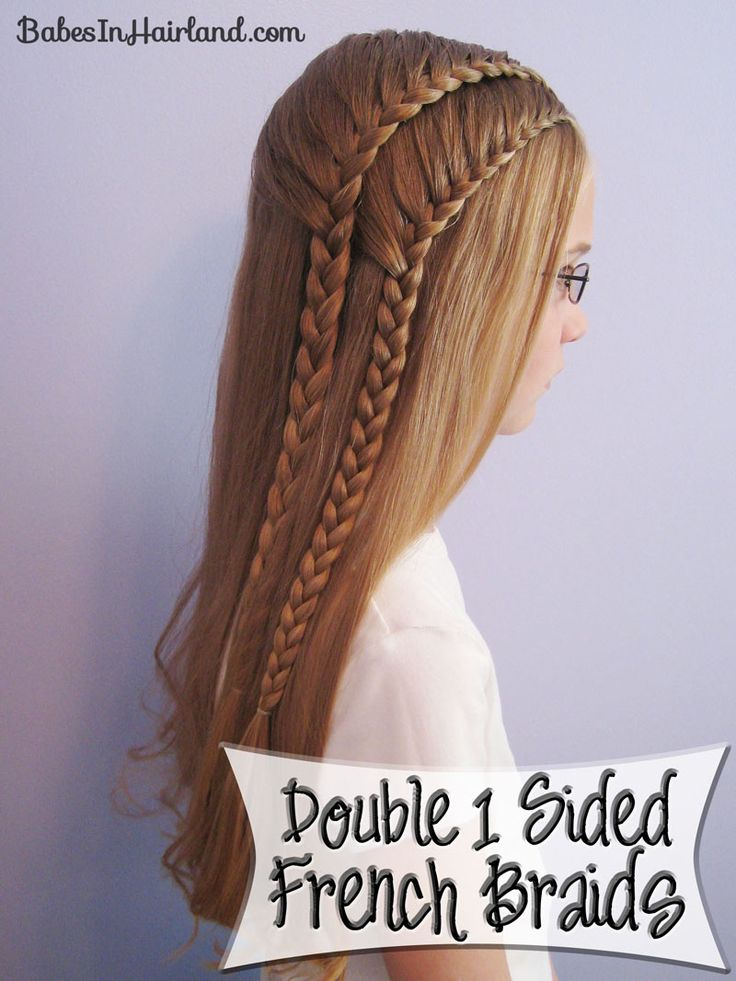 Double 1 Sided French Braids: Hair Ideas, French Braids, Double Lace, Hair Styles, Long Hair, Lace Braids, Braided Hairstyles