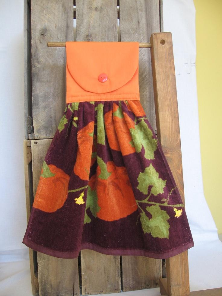 Fall Pumpkin Kitchen Towel Hanging Kitchen Towel with Pumpkins, via Etsy.