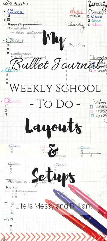 Bullet Journal: Weekly School To Do Layouts and Study Plans