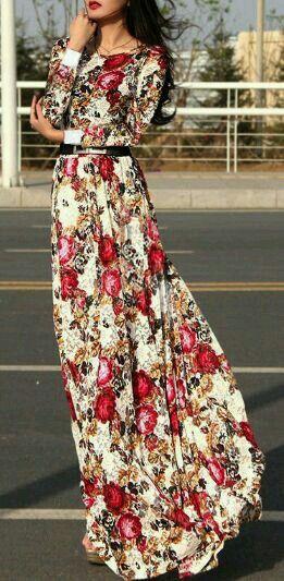 Long-Sleeved Maxi Dress